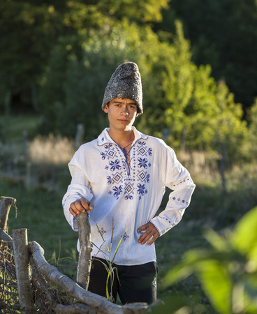 national costume: Romanian teenager in national costume