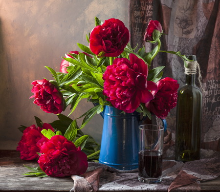 Pink peonies still life Stock Photo