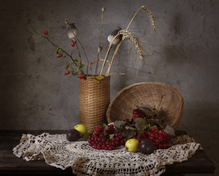 bunchy: Still life with red natural rowan Stock Photo