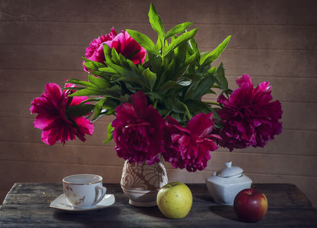 peonies: still life red peonies Stock Photo