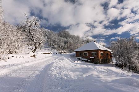 winter landscape in romanian carpatians mountains