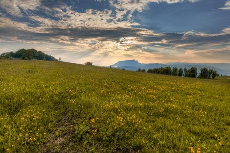sunrise in Carpathians mountains Stock Photo