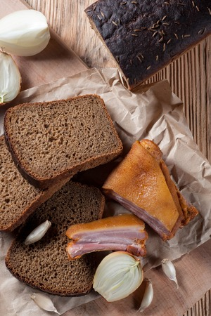 black bread: black bread with smoked meat Stock Photo