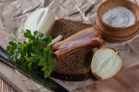 black bread with smoked meat Stock Photo