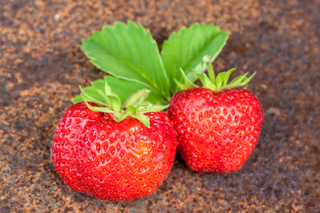 Sweet and fresh strawberries on old metal background. Natural food.