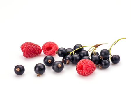 Blackcurrants and raspberries in closeup isolated on white background.