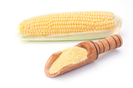 Maize with corn flour isolated on white background