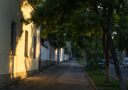 old town house lighted by the sun Stock Photo