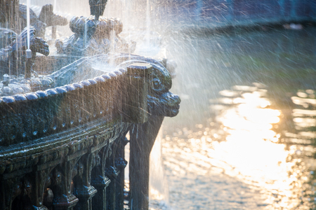Fountain detail flowing water abstract background