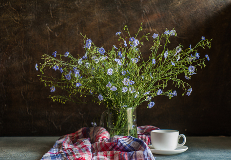 Still life with wildflowers. blue wildflowers in a vase. Rustic stile. Archivio Fotografico