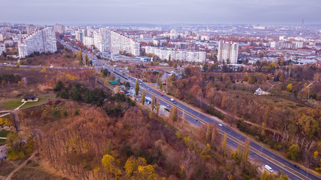 Chisinau, Republic of Moldova. The City Gates. Aerial view from a drone.