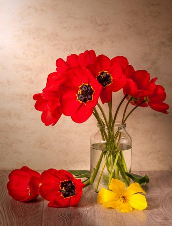 Naturaleza muerta con tulipanes en jarrón de cristal. Flores de primavera. Foto de archivo