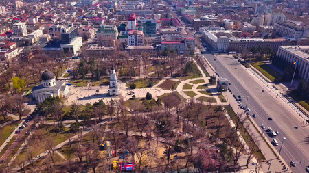Panorama of the city of Kishinev. Aerial view of modern city buildings.