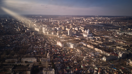 Aerial view of drone flying over city with downtown in Kishinev, Moldova republic of. Modern european city. 版權商用圖片