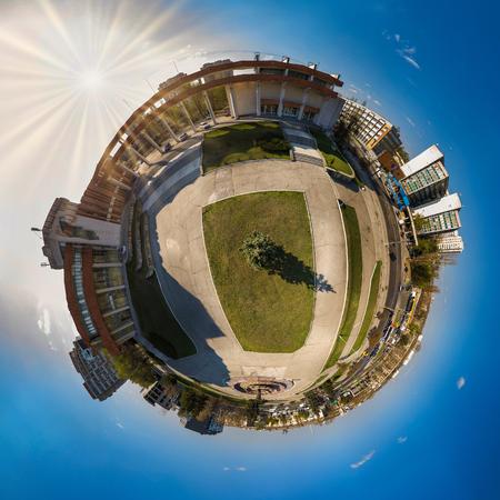 Miniature planet of Kishinev city. 360 degree view Imagens