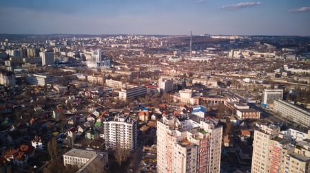 Aerial view of drone flying over city with downtown in Kishinev, Moldova republic of. Modern european city.