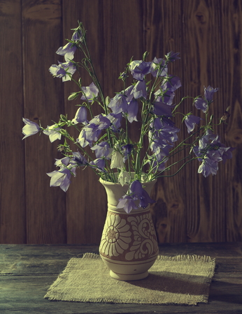 Beautiful bell flower bouquet in the vase on wooden table. Still life with bell shaped flowers.