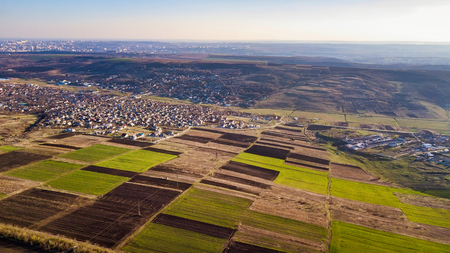 Bird Eye View of the Fields and Agricultural Parcel. Moldova republic of. Aerial Views.