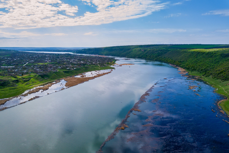 Wonders of Moldova, high altitude aerial shot of river Dniester
