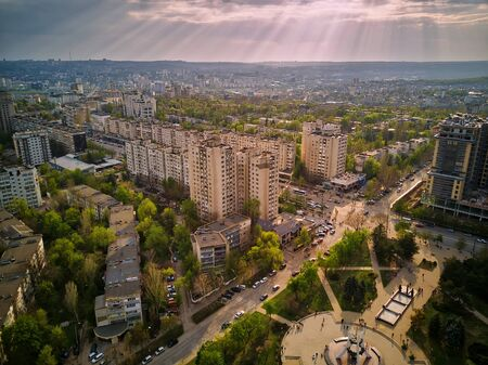 aerial view city of Kishinev, flight over the Buildings and street.