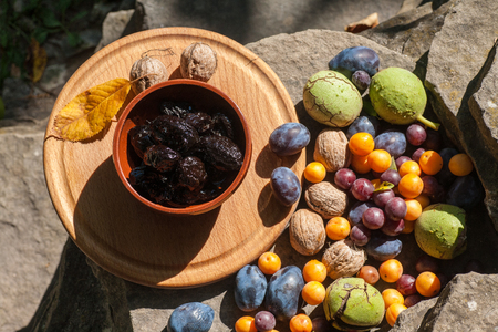 Fresh and dried prunes whit walnuts in bowl. Natural food. Outdoor composition. Close up.