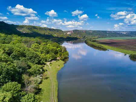 Wonders of Moldova, high altitude aerial shot of river Dniester