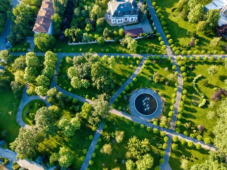 Flying Drone over Park. Central city park, Slatina, Romania.