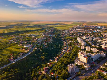 Aerial view of Slatina, Romania. Drone flight over the european city in summer day.