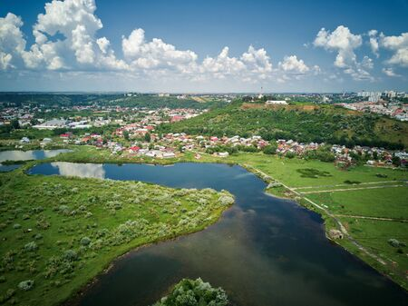 Aerial view of blue river whit reflections on a sunny summer day. Drone photography. Stock fotó