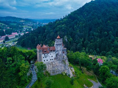 Aerial panorama view of the medieval Bran Castle, known for the myth of Dracula