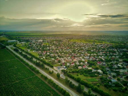 Aerial View of suburban Houses in sunset