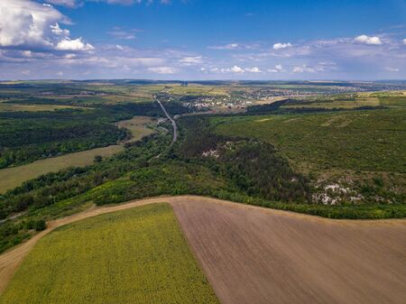 Aerial view of farm lands in Moldova republic of