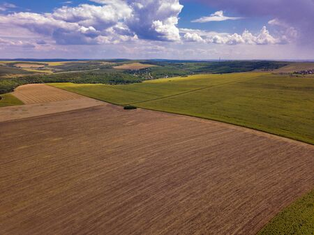 Aerial view of farm lands in Moldova republic of Stock Photo