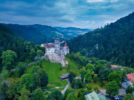 Aerial panorama view of the medieval Bran Castle, known for the myth of Dracula , Dracula Castle in Brasov, Transylvania. Romania. Stock Photo
