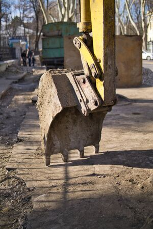 Construction of a road. Earth movement, wheel excavator