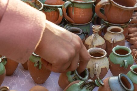 The fair of folk craftsmen of pottery. Stok Fotoğraf