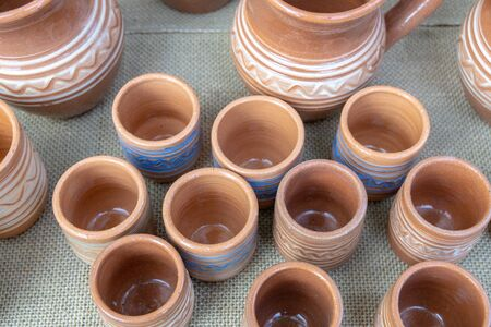 The fair of folk craftsmen of pottery. Handmade clay pots