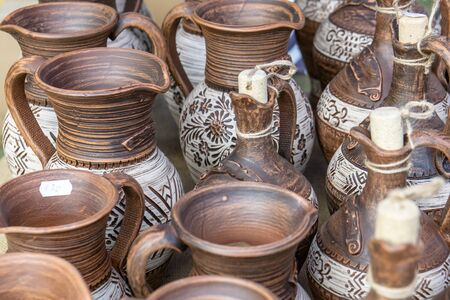 The fair of folk craftsmen of pottery. Handmade clay pots