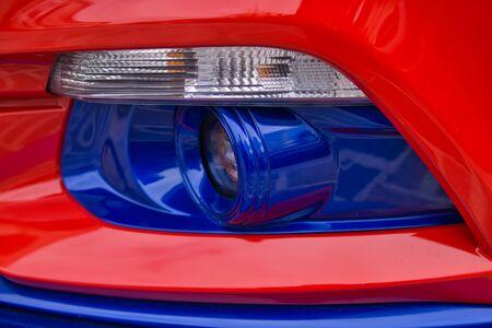 Closeup of new projector headlight on the modern car. Standard-Bild