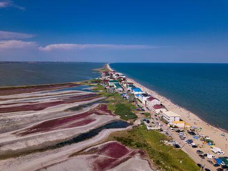Curortnoe sea spit resort in Odessa region in Ukraine. Aerial view of beach and sea.