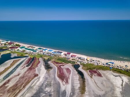 Curortnoe sea spit resort in Odessa region in Ukraine. Aerial view of beach and sea.