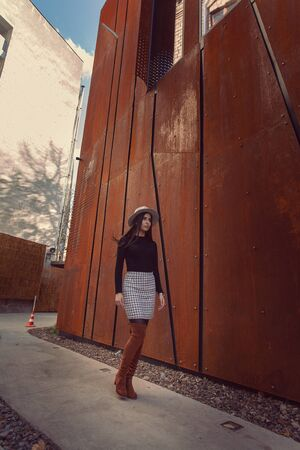 Beautiful girl model posing against the background of the modern building 免版税图像