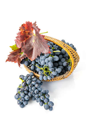 Grapes in a wooden basket. White background Standard-Bild - 150676481