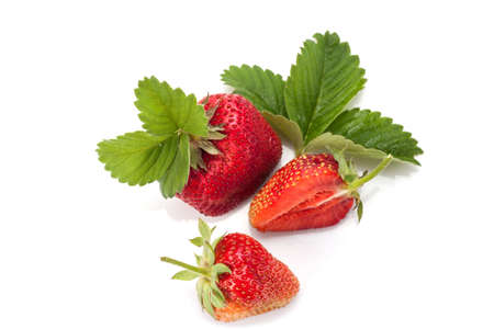 Strawberries with leaves. Isolated on a white background. Standard-Bild - 150676660