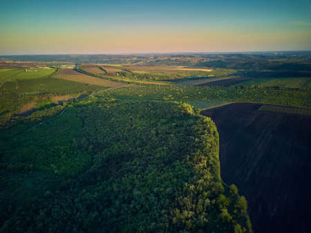 Aerial View From The Drone, A BirdS Eye View To The Forest With Green Plantings Standard-Bild - 151120727