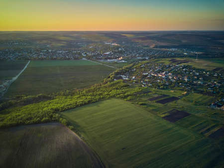 Aerial View From The Drone, A BirdS Eye View To The Forest With Green Plantings Standard-Bild