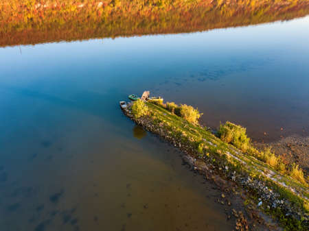 Aerial view of old wood pier at the sunset River pier.
