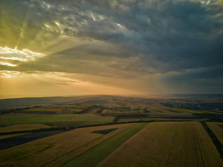 Aerial panorama over healthy green crops in patchwork pasture farmland. Magestic sunset.