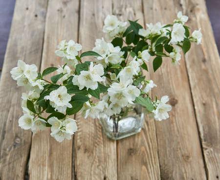 Jasmine flowers in a glasse vase on wooden board. Stillife. 写真素材