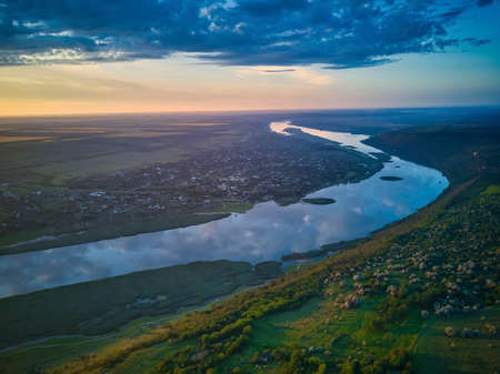 Beautiful view over the river on a sunrise. Outdoor recreation. Dniester panorama.